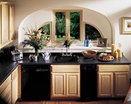 Custom Kitchen and counter tops and Custom Casement windows with quarter rounds